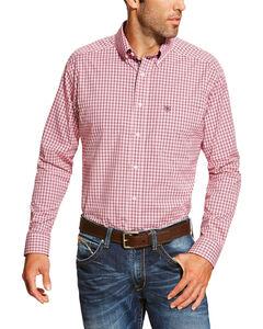 Ariat Men's Dark Pink Felton Plaid Print Long Sleeve Shirt , Dark Pink, hi-res