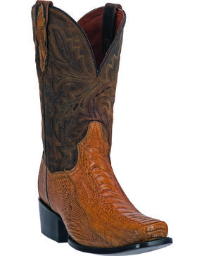 Dan Post Yuma Ostrich Leg Cowboy Boots - Square Toe, Saddle Tan, hi-res