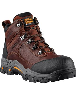 "Ariat WorkHog Trek H2O 5"" Lace-Up Work Boots - Comp Toe, Brown, hi-res"