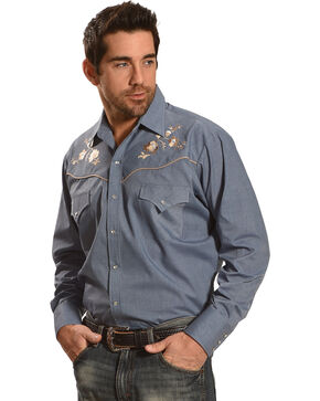 Ely Cattleman Men's Blue Western Embroidery Long Sleeve Shirt , Blue, hi-res