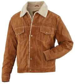 China Leather Brown Suede Sherpa-Lined Jacket , , hi-res
