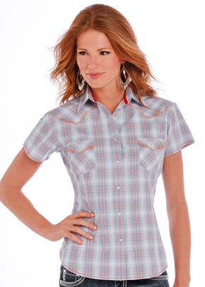 Panhandle Slim Women's Blue Crosby Vintage Ombre Plaid Shirt , Blue, hi-res