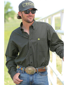 Cinch Men's Black Sunglasses Print Long Sleeve Shirt , Black, hi-res
