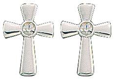 Montana Silversmiths Rhinestone Cross Earrings, , hi-res