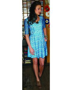 Southern Thread Blue Lace Fit & Flare Dress, , hi-res