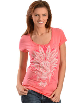 Wrangler Rock 47 Women's Skull Headdress T-Shirt, Coral, hi-res