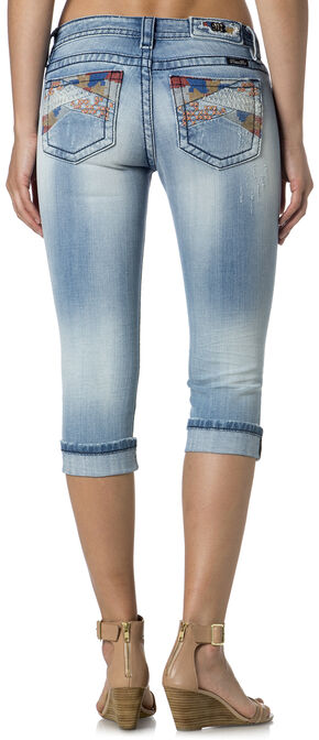 Miss Me Mid-Rise Multi-Stitch Pocket Capris , Denim, hi-res