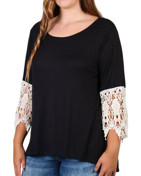 Forgotten Grace Women's Lace Trim Bell Sleeve Top - Plus, Black, hi-res