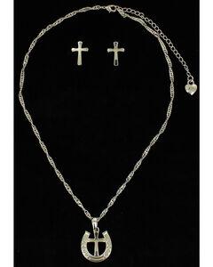 Lightning Ridge Horseshoe & Cross Charm Necklace Set, , hi-res