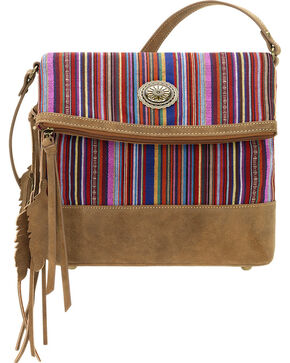 American West Bandana Women's Serape Fold Over Crossbody Bag, Brown, hi-res