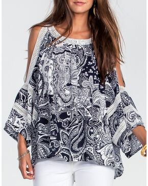Miss Me Women's Navy Paisley Print Open Shoulder Shirt, Navy, hi-res