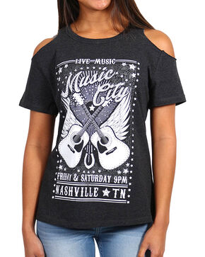 Shyanne Women's Music City Cold Shoulder T-Shirt , Charcoal, hi-res