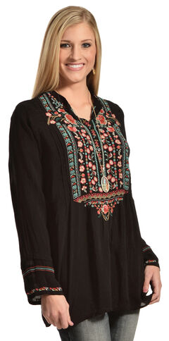 Johnny Was Women's Embroidered Black Catra Tunic, , hi-res
