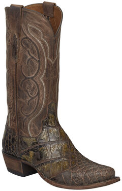 Lucchese Chocolate Giant Gator Van Cowboy Boots - Square Toe, Chocolate, hi-res