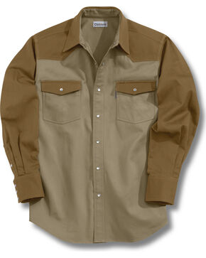 Carhartt Solid Cotton Twill Long Sleeve Work Shirt, Brown, hi-res