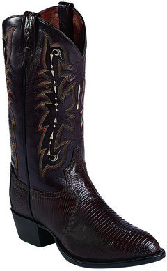 Tony Lama Chocolate Lizard Exotics Cowboy Boots - Round Toe , , hi-res