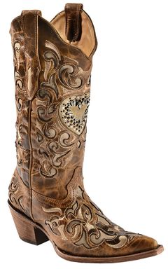 Corral Sand Maipo Crystal Heart Cowgirl Boots - Pointed Toe, , hi-res
