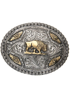 AndWest Men's Oval Brass Buffalo Belt Buckle, , hi-res