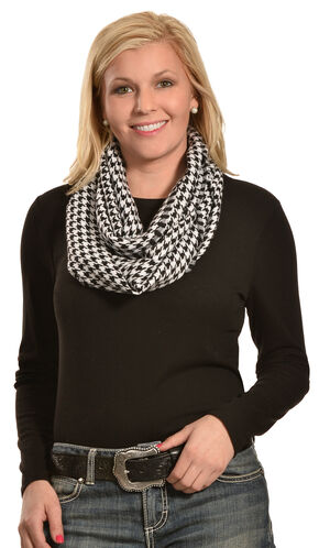 Rapti Women's Cashmere Houndstooth Infinity Scarf , White, hi-res