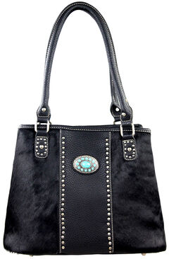 Montana West Trinity Ranch Black Hair-On Leather Collection Handbag, , hi-res