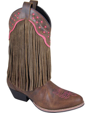 Smoky Mountain Helena Brown Fringe Cowgirl Boots - Round Toe, Brown, hi-res