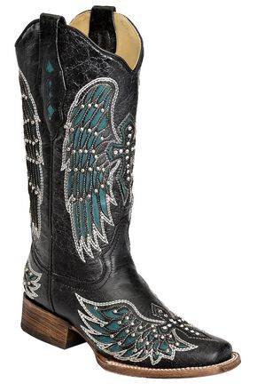 Corral Turquoise Wing Inlay & Cross Embroidered Cowgirl Boots - Square Toe, Black, hi-res