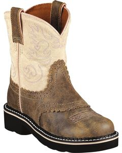 Ariat Fatbaby Youth Girls' Pink & Brown Bomber Boots - Round Toe, Brn Bomber, hi-res