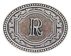 "Montana Silversmiths Men's Initial ""R"" Two-Tone Attitude Belt Buckle, , hi-res"