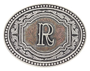 "Montana Silversmiths Men's Initial ""R"" Two-Tone Attitude Belt Buckle, Silver, hi-res"