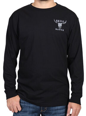 Cody James Men's Skull Ranch Long Sleeve Tee, Black, hi-res