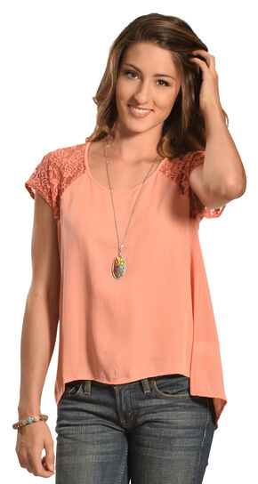 Petrol Women's Rose Lace Short Sleeve Top, Rose, hi-res