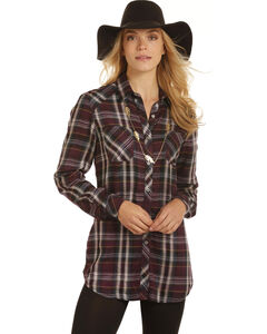Rock & Roll Cowgirl Women's Brushed Twill Plaid Shirt , , hi-res