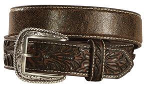 Ariat Embossed Tab Distressed Belt, Brown, hi-res
