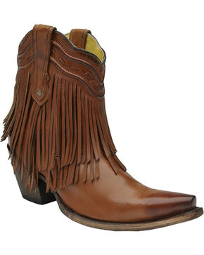 Corral Brown Fringe and Whip Stitch Short Boots - Snip Toe , Tan, hi-res