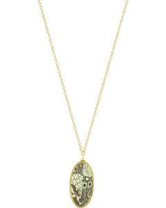 Jilzarah Latte Gold Frame Pendant Necklace, , hi-res