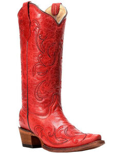 Circle G Red Leather Cowgirl Boots - Snip Toe, , hi-res