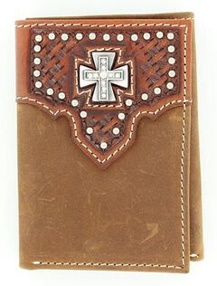 Nocona Basketweave Overlay Cross Concho Tri-Fold Wallet, Brown, hi-res