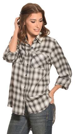 New Direction Women's Black & White Plaid Western Shirt, , hi-res
