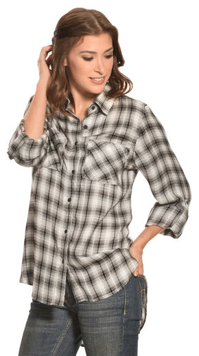 New Direction Women's Black & White Plaid Western Shirt, Blk/white, hi-res