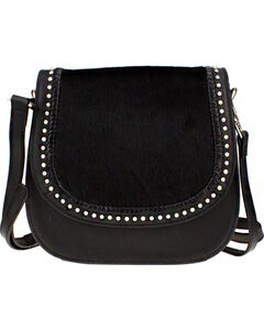 Montana West Delila Saddle Bag 100% Genuine Leather Hair-On Hide Collection in Black, , hi-res