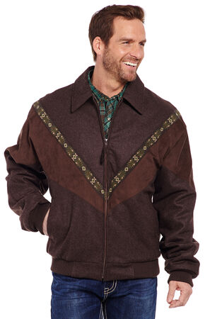 Cripple Creek Men's Brown Aztec Trim Wool Jacket, Chocolate, hi-res