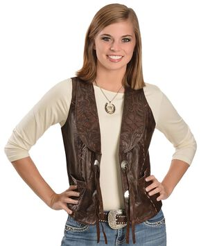 Kobler Floral Tooled Leather Vest, Brown, hi-res