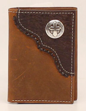Nocona Trifold Cross Concho Wallet, Med Brown, hi-res