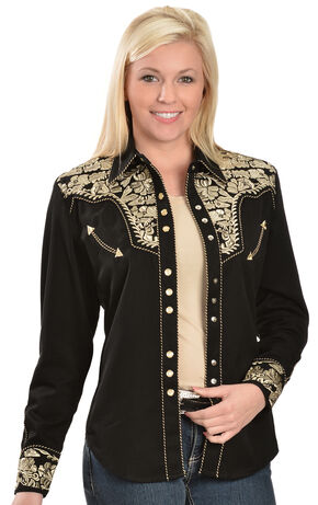 Scully Women's Embroidered Pearl Snap Blouse, Black, hi-res