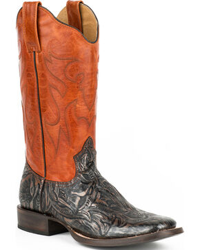 Roper Orange and Brown Handtooled Cowgirl Boots - Square Toe, Brown, hi-res