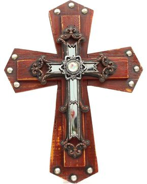 Studded Wooden Wall Cross, Brown, hi-res