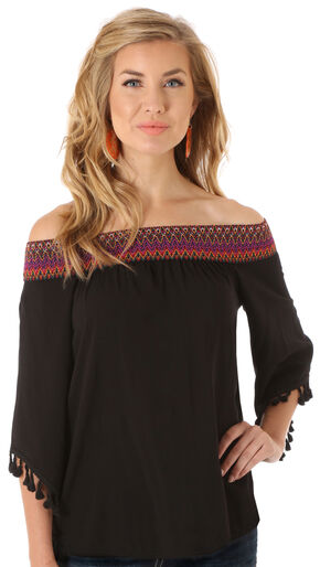Wrangler Women's Black Off the Shoulder Top, Black, hi-res