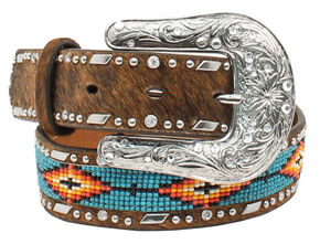 Ariat Girls Beaded Ribbon Inlay Belt, Brown, hi-res