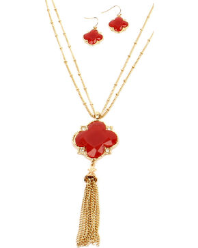 Ethel & Myrtle Red Clover Tassel Jewelry Set, Red, hi-res