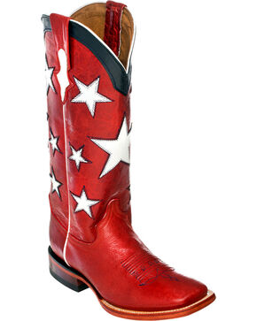 Ferrini Americana Cowgirl Boots - Square Toe, Red, hi-res